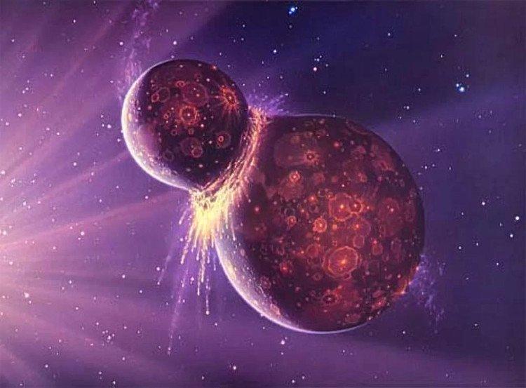 1 hành tinh với kích thước của Sao Hỏa tên là Theia (cùng hình thành trong giai đoạn đầu của Hệ Mặt Trời) va vào Trái Đất.